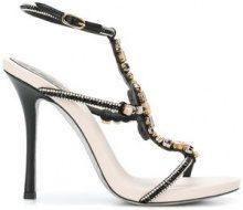 René Caovilla - Sandali con applicazioni - women - Leather/Silk - 35.5, 36.5, 37, 37.5, 38, 38.5, 39, 36 - BLACK