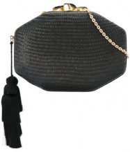 Rafe - interwoven clutch bag - women - Straw/Snake Skin - One Size - BLACK
