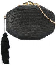 Rafe - Borsa Clutch intrecciata - women - Straw/Snake Skin - OS - Nero