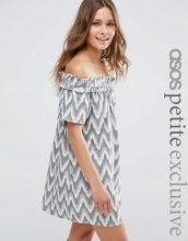 ASOS PETITE - Vestito estivo stile Bardot con stampa ikat