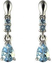 Ivy Gems-Pendente in oro bianco 9 kt, con orecchini a goccia in topazio, colore: blu
