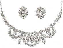 Cristalina stile Vintage, argento, con ghirlanda di cristalli Swarovski-Collana con ciondolo a grappolo e orecchini