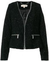 Michael Michael Kors - Giacca con bordo con catena - women - Polyester/Acrylic/Wool/Spandex/Elastane - S, M, L - Nero