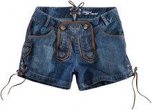 Stockerpoint Roxy, Pantaloni in pelle folcloristici da donna, blu (blau (sky)), 42