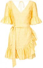 C/Meo - tie waist ruffle mini dress - women - Viscose/Nylon/Spandex/Elastane - S - YELLOW & ORANGE
