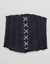 ASOS - Cintura larga stile corsetto di jeans con frange e laccetti - Blu
