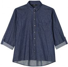 FIND Denim Shirt Camicia Donna, Blu (Blue), 52 (Taglia Produttore: XXX-Large)