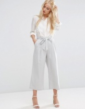 ASOS - Gonna pantalone in lino con laccetti in vita