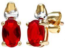 Citerna Orecchini a Perno da Donna, Oro Bicolore, Rubino/Zirconia