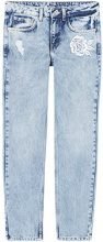 FIND Jeans Straight con Ricamo Donna, Blu (Light Blue), M