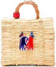 Heimat Atlantica - Borsa tote 'Liebe Mini Biman' - women - Leather/Straw/Porcelain - OS - NUDE & NEUTRALS