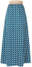 Daniela Pancheri - printed midi skirt - women - Cotton/Spandex/Elastane - S, M - BLUE