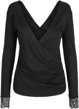 Y.A.S Lace Wrap Long Sleeved Top Women Black