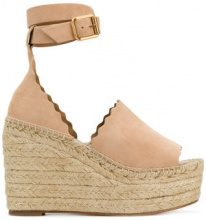 Chloé - scalloped trim wedges - women - Leather/Suede - 39, 35, 36, 38, 40 - NUDE & NEUTRALS