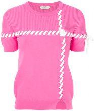 Fendi - Maglia 'Lace-up' - women - Polyester/Viscose - 42 - PINK & PURPLE