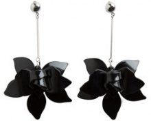 PIECES Long Flower Earrings Women Black