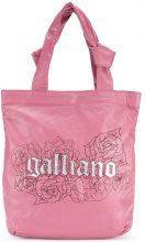 John Galliano - logo print tote - women - Leather - OS - PINK & PURPLE