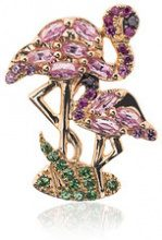 Yvonne Léon - 18k gold flamingo earring with gems - women - Diamond/Sapphire/18kt Gold/Tsavorite - OS - METALLIC