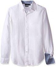 Nautica Stripe Slim Fit, Camicia Uomo, Bright White, Small