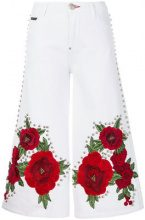 Philipp Plein - embroidered and studded cropped flare jeans - women - Cotton/Polyester/Spandex/Elastane - 26, 27, 28 - WHITE