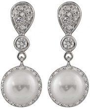 Bella Pearls Donna 925 argento Rotonda Semisferica perla cinesa da coltivazione bianco Perla Zirconia cubica FINEEARRING
