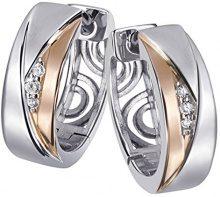 Goldmaid - Orecchini da Donna in argento ossidato con Zircone Rotondo Bianco