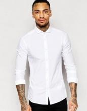 ASOS - Camicia skinny bianca con colletto alla francese