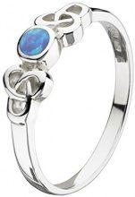 Anello Heritage in argento Sterling con opale sintetico, blu, stile celtico, misura: 5,5