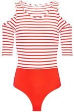 FIND Cold Shoulder T-Shirt Donna, Rosso (Sport Red/White Stripe), 40 (Taglia Produttore: X-Small)