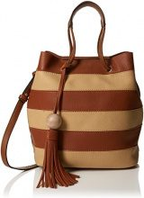 SwankySwans Lola Stripe 2 In 1 Tote Bag - Borse Donna, Marrone (Tan), 12x33x24 cm (W x H x L)