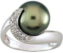 Miore 7 Vd023gnb-Anello da donna in oro bianco 750/1000-5Gr e perla di Tahiti, 9,9 0,14Ct e diamante, taglia 54