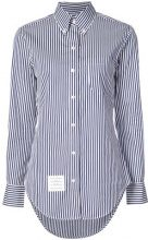 Thom Browne - Classic Long Sleeve Button Down Point Collar Shirt With Red, White And Blue Grosgrain Placket In Hairline Stripe Poplin - women - Cot...