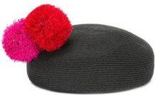 Eugenia Kim - Coco Pompom beret - women - Cotone/Hemp/Polyester - OS - Nero
