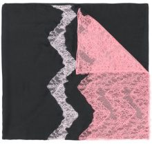 Valentino - lace detail scarf - women - Modal/Cashmere/Polyamide/Viscose - OS - BLACK