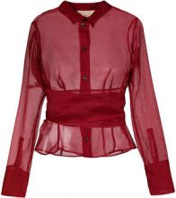 Romeo Gigli Vintage - belted sheer shirt - women - Silk - 38, 40, 44 - RED
