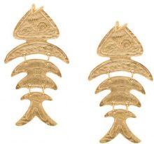 Oscar de la Renta - Orecchini a forma di pesce - women - Pewter/Brass/Steel/Gold - One Size - METALLIC