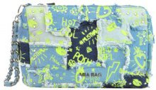 Pochette in denim patchwork stampato