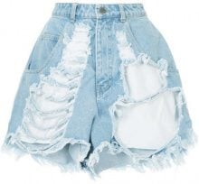 Pony Stone - distressed high waist shorts - women - Cotton - M - BLUE