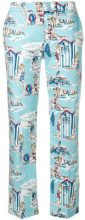 Blugirl - beach print cropped trousers - women - Cotton/Polyester/Spandex/Elastane - 42, 44 - BLUE