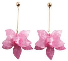 PIECES Long Flower Earrings Women Pink