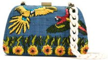 Serpui - embroidered raffia clutch - women - Raffia - OS - BLUE