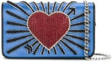 Les Petits Joueurs - Clutch 'Heart Cupid' - women - Silk/Leather/Metal (Other)/Sequin - OS - BLUE