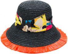 Etro - floral strap hat - women - Silk/Straw/Viscose - 57, 58, 56 - BLACK
