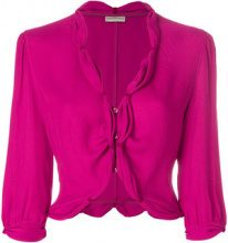 Emporio Armani Vintage - cropped gathered blouse - women - Polyester - 42 - PINK & PURPLE