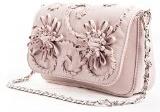 Fiordaliso - Passione Bags - Borsa da donna in vera pelle a tracolla color rosa antico con fiori ricamati a mano - Made in Italy