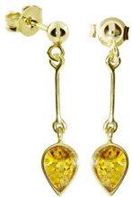 InCollections - Orecchini pendenti da donna con ambra, oro giallo 8k (333), cod. 0010163333L100