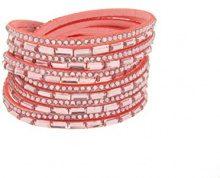 Kettenworld Mondiale catena donna-in acciaio inox in vetro rosa brillante 38 cm - 370679