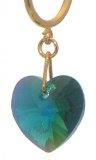 VALENTINE CERCEAU Smeraldo verde ab cristallo cuore clip su orecchini placcato in oro