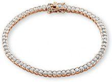 S. Oliver braccialetto in argento 925 placcato oro con zirconi parte trasparente, Donna 18 cm, Oro Rosa/Argento