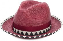 Borsalino - Cappello panama 'Quito' - women - Straw - M - PINK & PURPLE